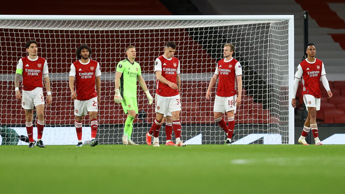 Arsenal's dejected defence